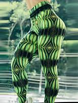 cheap -Women's High Waist Yoga Pants Winter 3D Print Green Elastane Running Fitness Gym Workout Tights Leggings Sport Activewear Breathable Moisture Wicking Butt Lift Tummy Control High Elasticity Skinny