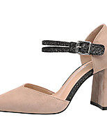cheap -Women's Heels Chunky Heel Pointed Toe Synthetics Sweet / British Summer / Spring & Summer Black / Wine / Almond / Party & Evening