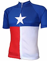 cheap -21Grams Men's Short Sleeve Cycling Jersey Winter 100% Polyester Blue / White Geometic Bike Jersey Top Mountain Bike MTB Road Bike Cycling UV Resistant Breathable Quick Dry Sports Clothing Apparel