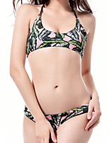 cheap -Women's Basic Army Green Halter Cheeky Bikini Tankini Swimwear - Floral Solid Colored Print S M L Army Green