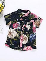 cheap -Kids Boys' Basic Geometric Short Sleeve Cotton Shirt Blue