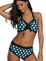 cheap -Women's Black Blue Bikini Swimwear - Polka Dot M L XL Black