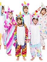 cheap -Kid's Kigurumi Pajamas Unicorn Onesie Pajamas Flannelette White / Purple / Yellow Cosplay For Boys and Girls Animal Sleepwear Cartoon Festival / Holiday Costumes