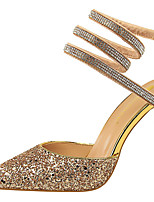 cheap -Women's Heels Crystal Sandals Stiletto Heel Pointed Toe Sequin Synthetics Sweet / Minimalism Spring &  Fall / Summer Gold / White / Silver / Wedding / Party & Evening / 3-4 / Party & Evening