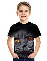 cheap -Kids Boys' Active Street chic Cat 3D Animal Print Short Sleeve Tee Black