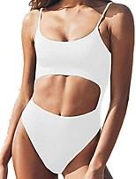 cheap -Women's Basic Black White Blushing Pink Bandeau Cheeky High Waist Bikini Swimwear - Floral Geometric Lace up Print S M L Black