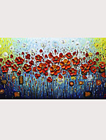 cheap -Abstract 3D Knife Paintings Thick Textured Red Flower Oil Painting On Canvas with Stretched Frame Ready to Hang