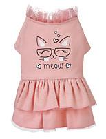cheap -Dog Cat Dress Dog Clothes Pink Costume Husky Labrador Alaskan Malamute Polyester Cotton Bowknot Flower Leisure Sweet XS S M L XL