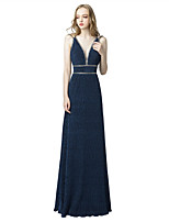 cheap -A-Line Spaghetti Strap Floor Length Spandex Elegant Formal Evening Dress 2020 with Beading