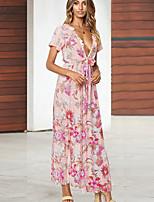 cheap -Women's Elegant Sheath Dress - Geometric Blushing Pink Red S M L XL
