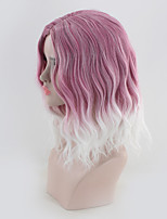 cheap -Synthetic Wig Curly kinky Straight Asymmetrical Wig Medium Length White / Pink Synthetic Hair 16 inch Women's Best Quality White Pink