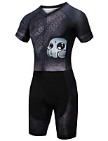 cheap -21Grams Men's Short Sleeve Triathlon Tri Suit Black Skull Bike Clothing Suit UV Resistant Breathable Quick Dry Sweat-wicking Sports Skull Mountain Bike MTB Road Bike Cycling Clothing Apparel