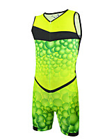 cheap -21Grams Men's Sleeveless Triathlon Tri Suit Green / Yellow Bike Clothing Suit UV Resistant Breathable Quick Dry Sweat-wicking Sports Bubble Mountain Bike MTB Road Bike Cycling Clothing Apparel