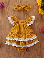 cheap -Baby Girls' Basic Print Sleeveless Bodysuit Yellow