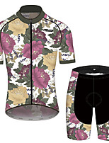 cheap -21Grams Men's Women's Short Sleeve Cycling Jersey with Shorts Pink+Green Floral Botanical Bike Clothing Suit Breathable 3D Pad Quick Dry Reflective Strips Sports Floral Botanical Mountain Bike MTB