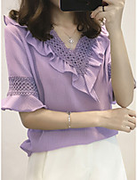 cheap -Women's Holiday Going out Blouse - Solid Colored Purple