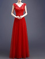 cheap -A-Line V Neck Floor Length Polyester Elegant Engagement / Formal Evening Dress 2020 with Appliques