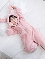 cheap -Kid's Kigurumi Pajamas Rabbit Bunny Onesie Pajamas Flannelette Pink / Khaki Cosplay For Boys and Girls Animal Sleepwear Cartoon Festival / Holiday Costumes