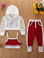 cheap -Toddler Girls' Basic Casual Solid Colored Long Sleeve Regular Regular Clothing Set White