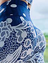 cheap -Women's High Waist Yoga Pants Fashion Dark Blue Elastane Running Fitness Gym Workout Tights Sport Activewear Breathable Moisture Wicking Butt Lift Tummy Control High Elasticity Skinny
