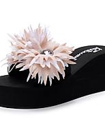 cheap -Women's Slippers & Flip-Flops Wedge Heel Open Toe Sparkling Glitter / Tassel Polyester Sweet / Chinoiserie Walking Shoes Summer Black / Red / Pink / Color Block
