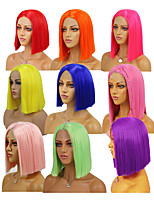 cheap -Synthetic Lace Front Wig Silky Straight Middle Part Lace Front Wig Short Watermelon Red Rose Gold Pink Green Purple Synthetic Hair 8-16 inch Women's Soft Heat Resistant Synthetic Red Yellow