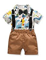 cheap -Kids Boys' Basic Birthday Party Party & Evening Print Long Sleeve Regular Regular Clothing Set Khaki