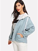 cheap -Women's Holiday / Going out Basic Fall & Winter Short Coat, Solid Colored Sun Flower Hooded Long Sleeve Faux Linen Print Blue
