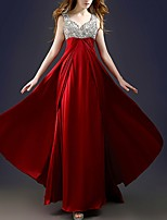 cheap -A-Line V Neck Floor Length Polyester Elegant Formal Evening / Wedding Guest Dress 2020 with Sequin / Draping / Tier