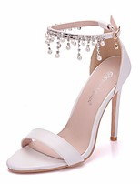 cheap -Women's Wedding Shoes Crystal Sandals Stiletto Heel Open Toe PU Spring & Summer White