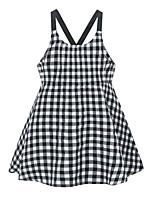 cheap -Kids Girls' Plaid Dress Black