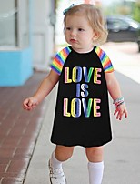 cheap -Kids Girls' Letter Dress Black
