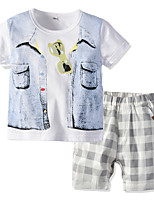 cheap -Kids Boys' Basic Christmas Home Print Cartoon Print Short Sleeve Regular Regular Clothing Set White