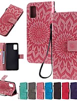 cheap -Case For Samsung Galaxy Galaxy A7(2018) / Galaxy A9(2018) / Galaxy A10(2019) Wallet / Card Holder / with Stand Full Body Cases Solid Colored / Flower PU Leather