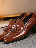 cheap -Men's Comfort Shoes PU Fall & Winter Loafers & Slip-Ons Black / Brown / Tassel / Tassel