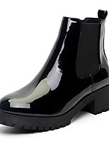 cheap -Women's Boots Block Heel Round Toe Faux Leather Booties / Ankle Boots Classic / Preppy Fall & Winter Black