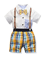 cheap -Kids Boys' Basic Christmas Home Color Block Print Short Sleeve Regular Regular Clothing Set White