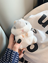 cheap -Creative Fall  Winter Cute Plush Doll Hamster Anti-Fall AirPods Case with Safety Buckle for Apple Airpods 2&1 Charging