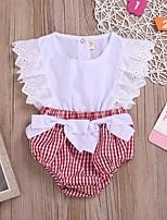 cheap -Baby Girls' Basic Plaid Sleeveless Romper Red