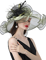 cheap -Headwear Organza / Feathers / Poly / Cotton Blend Hats with Cascading Ruffles / Flower 1 Piece Wedding / Outdoor Headpiece