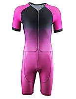 cheap -21Grams Men's Short Sleeve Triathlon Tri Suit Pink / Black Gradient Bike Clothing Suit UV Resistant Breathable Quick Dry Sweat-wicking Sports Gradient Mountain Bike MTB Road Bike Cycling Clothing