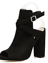 cheap -Women's Boots Chunky Heel Peep Toe Synthetics Booties / Ankle Boots Sweet / Minimalism Fall / Spring & Summer Black / Party & Evening
