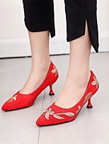 cheap -Women's Heels Flared Heel Pointed Toe Rhinestone Suede Business / Vintage Spring &  Fall / Spring & Summer Black / Red / Party & Evening