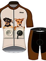 cheap -21Grams Women's Short Sleeve Cycling Jersey with Shorts Brown+Gray Dog Animal Bike Clothing Suit Breathable 3D Pad Quick Dry Ultraviolet Resistant Reflective Strips Sports Dog Mountain Bike MTB Road