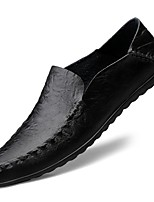 cheap -Men's Moccasin Cowhide Fall & Winter Loafers & Slip-Ons Black / Brown