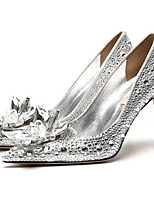 cheap -Women's Wedding Shoes Stiletto Heel Pointed Toe Rhinestone / Sparkling Glitter Synthetics Sweet / Minimalism Fall / Spring & Summer Gold / Silver / Red / Party & Evening