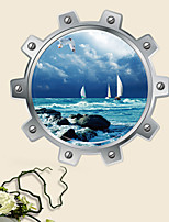 cheap -Sea Sailboat Wall Sticker Wall Art Home Decoration Accessories Bedroom Decor Wall Stickers Home Decor Living Room