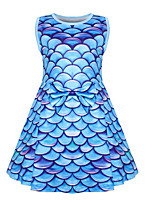 cheap -Kids Toddler Girls' Basic Cute The Little Mermaid Color Block Print Sleeveless Knee-length Dress Fuchsia