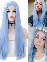 cheap -Synthetic Lace Front Wig Silky Straight Middle Part Lace Front Wig Long Blue Synthetic Hair 18-26 inch Women's Cosplay Heat Resistant Party Blue / Natural Hairline