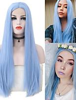 abordables -Perruque Lace Front Synthétique Droit soyeux Partie médiane Lace Frontale Perruque Long Bleu Cheveux Synthétiques 18-26 pouce Femme Cosplay Résistant à la chaleur Soirée Bleu